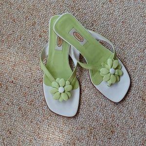 Talbot green floral thong sandal